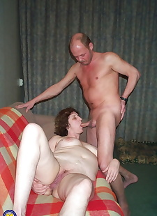 sex images Mature lady sticks a double dildo in, blowjob , granny