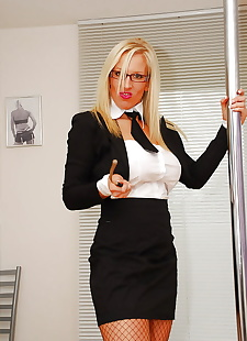 sex images Very classy blonde mature secretary, big tits , stockings