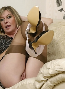 sex images Mature lady Satin Jayde adjust her, stockings , fetish